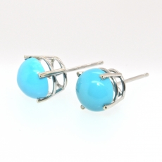 3.80 Carat Turquoise Stud Earring In 14k White Gold