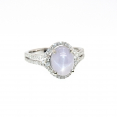 3.83 Carat Natural Star Sapphire And Diamond Ring In 14k White Gold