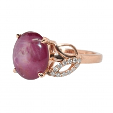 3.83 Carat Star Ruby And Diamond Ring In 14k Rose Gold
