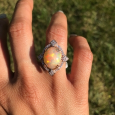 3.84 Carat Ethiopian Opal And Diamond Ring In 14K Yellow Gold
