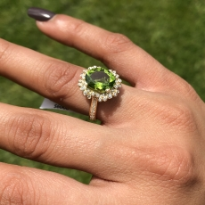 3.85 Carat Peridot And Diamond Ring In 14k Yellow Gold