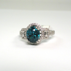 3.89 Carat Blue Zircon With Diamond Halo In 14k White Gold