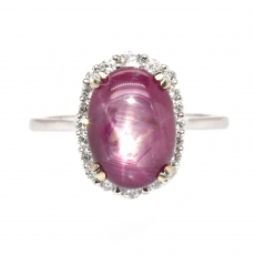 3.91 Carat Star Ruby And Diamond Ring In 14k White Gold