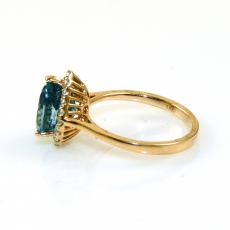 3.96 Carat Blue Zircon And Diamond Ring In 14k Yellow Gold