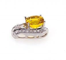 3.96 Carat Yellow Sapphire & Diamond   Pendant In 14k White Gold