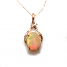3.97 Carat Ethiopian Opal And Diamond Pendant In 14k Rose Gold