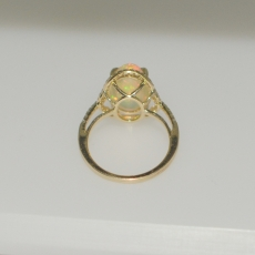 3.98 CARAT ETHIOPIAN OPAL AND DIAMOND RING IN 14K YELLOW GOLD