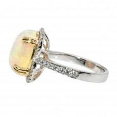4.03 Carat Ethiopian Opal And Diamond Ring In 14K White Gold