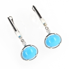 4.06 Carat Turquoise And Diamond Earring In 14k White Gold
