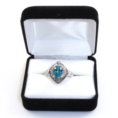 4.09 Carat Blue Zircon And Diamond Ring In 14k White Gold