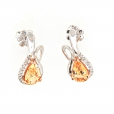 4.17 Carat Imperial Topaz And Diamond Earring In 14k White Gold