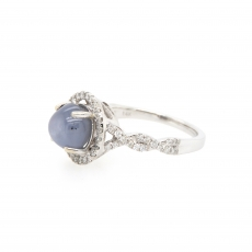 4.17 Carat Natural Star Sapphire And Diamond Ring In 14k White Gold