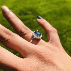 4.18 Carat Blue Zircon And Diamond Ring In 14k White Gold