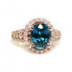 4.21 Carat Blue Zircon And Diamond Ring In 14k Rose Gold