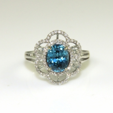 4.26 Carat Camboidan Blue Zircon And Diamond Ring In 14k White Gold