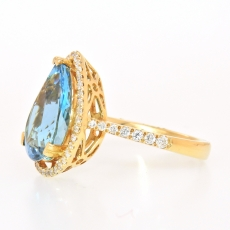 4.38 Carat Natural Aquamarine With Diamond Ring In 14k Yellow Gold
