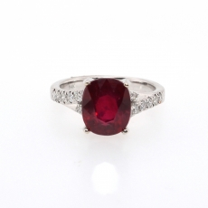 4.40 CARAT MADAGASCAR RUBY AND DIAMOND RING IN 14K WHITE GOLD
