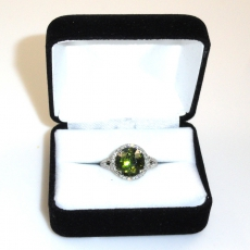 4.41 Carat Demantoid And Diamond Ring In 14k White Gold