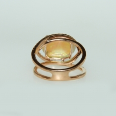 4.42 Carat Ethiopian Opal And Diamond Ring In 14k Rose Gold