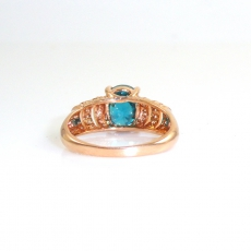 4.43 Carat Blue Zircon And Diamond Ring In 14k Rose Gold