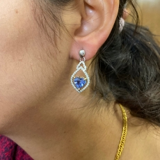 4.46 Carat Ceylon Sapphire And Diamond Earring In 14k White And Yellow Gold (online Exclusive)
