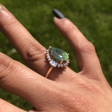 4.46 Carat Green Zircon And Diamond Ring In 14k Rose Gold
