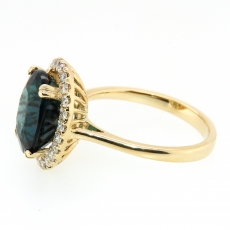 4.49 Carat Indicolite Tourmalie And Diamond Ring In 14k Yellow Gold