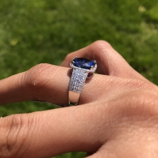 4.54 Carat Gia Certified Ceylon Sapphire And Diamond Ring In 14k White Gold