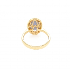 4.61 Carat Natural Star Sapphire And Diamond Ring In 14k Yellow Gold