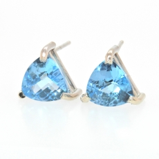 4.63 Carat Swiss Blue Topaz Stud Earring In 14k White Gold