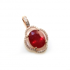 4.67 Carat Madagascar Ruby And Diamond Pendant In 14k Rose Gold