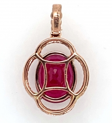 4.67carat Madagascar Ruby With Diamond Pendant In 14k Rose Gold