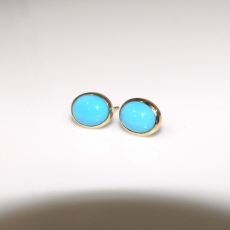 4.72 Carat Turquoise Stud Diamond Earring In 14k Rose Gold