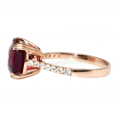 4.73 Carat Madagascar Ruby And Diamond Ring In 14k Rose Gold