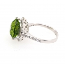 4.76 Carat Peridot And Diamond Ring In 14K White Gold