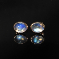 4.78 Carat Rainbow Moonstone Stud Earring In 14k Rose Gold