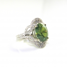 4.83 Carat Aaa Quality Demantoid Garnet And Diamond Halo Ring In 14k White Gold