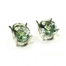 4.85 Carat Green Amethyst Stud Earring In 14k White Gold