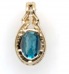 4.87 Carat Blue Zircon With Diamond  Pendants In 14k Yellow  Gold