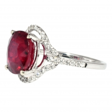 4.89 Carat Madagascar Ruby And Diamond Ring In 14k White Gold