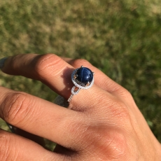 4.92 Carat Blue Star Sapphire and Diamond Ring 14k White Gold
