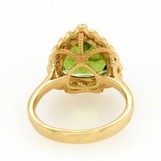 4.96 Carat Peridot And Diamond Ring In 14K Yellow Gold