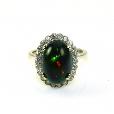 4.98 Carat Ethiopian Black Opal And Diamond Ring In 14k White Gold