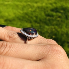 4.99 Carat Ethiopian Black Opal And Diamond Halo Ring In 14k White Gold