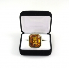 50.03 Carat AAA Quality Citrine And Diamond Cocktail Ring In 1K Yellow Gold