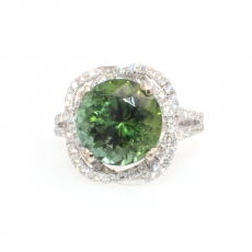 5.01 Carat Chrome Tourmaline And Diamond Ring In 14k White Gold