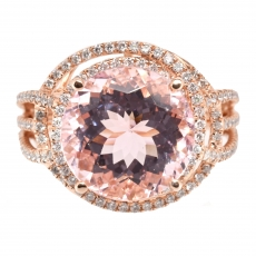 5.05 Carat Pink Morganite And Diamond Ring In 14k Rose Gold