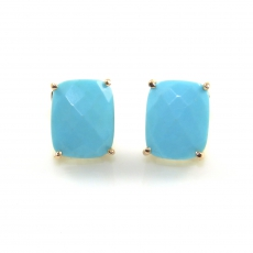 5.08 Carat Turquoise Stud Earring In 14K Rose Gold