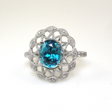 5.09 Carat Natural Cambodian Blue Zircon And Diamond Ring In 14k White Gold