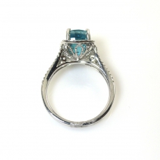 5.10 Carat Blue Zircon And Diamond Ring In 14k White Gold